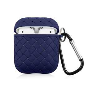 Insten Weave Shape Case For AirPods 1 & 2, Soft TPU Skin Cover with Carabiner, Blue