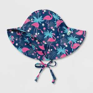 green sprouts Toddler Girls' Tropical Flamingos Brim Sun Protection Hat - Navy