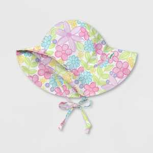 green sprouts Toddler Girls' Watercolor Flowers Brim Sun Protection Hat - White
