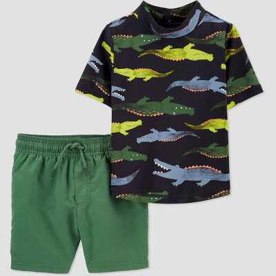 Toddler Boys' 2pc Alligator Short Sleeve Rash Guard Set - Just One You made by carter's Green