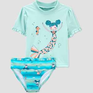 Toddler Girls' Mermaid Short Sleeve Rash Guard Set - Just One You made by carter's Green