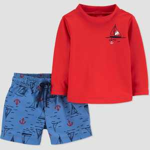 Baby Boys' Sailboat Long Sleeve Rash Guard Set - Just One You made by carter's Red