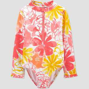 Toddler Girls' Floral Print Long Sleeve One Piece Swimsuit - Just One You made by carter's Pink