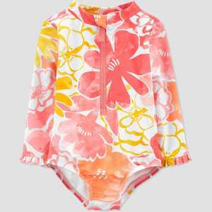 Baby Girls' Floral Print Long Sleeve One Piece Rash Guard - Just One You made by carter's Pink