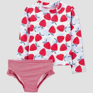 Toddler Girls' 2pc Strawberry Long Sleeve Rash Guard Set - Just One You made by carter's Red/Blue