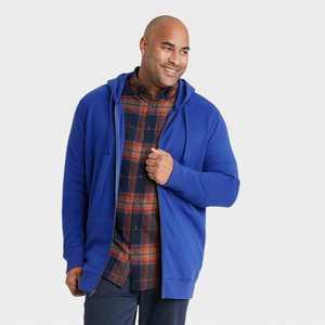 Men's Big & Tall Fleece Full-Zip Hoodie Sweatshirt - Goodfellow & Co