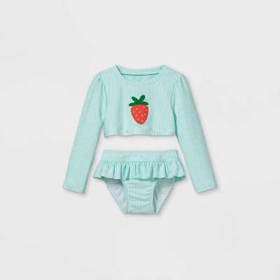 Toddler Girls' 2pc Seersucker Strawberry Long Sleeve Rash Guard Set - Cat & Jack Aqua