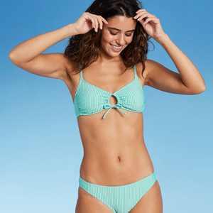 Juniors' Seersucker Front Loop Bralette Bikini Top - Xhilaration Multi Stripe