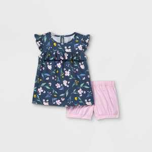 Toddler Girls' 2pc Floral Tank Top and Bottom Set - Just One You made by carter's Navy