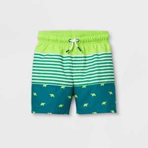 Toddler Boys' Colorblock Turtle Print Swim Trunks - Cat & Jack Green