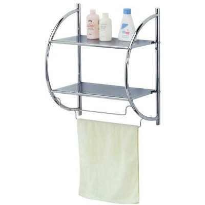 Home Basics 2 Tier Wall Mounting Chrome Plated Steel Bathroom Shelf with Towel Bar