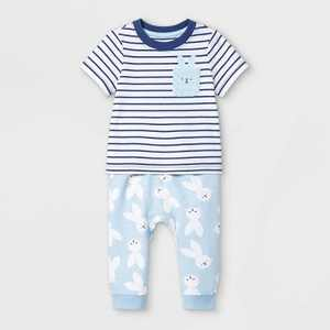 Baby Boys' 2pc Bunny Top & Bottom Set - Cat & Jack Blue