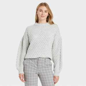Women's Crewneck Textured Pullover Sweater - A New Day