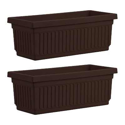 HC Companies VNP30000E21 30-Inch Plastic Venetian Flower Box, Chocolate (2 Pack)