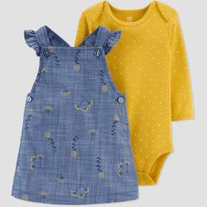 Baby Girls' Floral Top & Bottom Set - Just One You made by carter's Blue