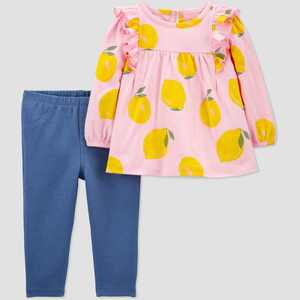 Baby Girls' 2pc Lemons Top & Bottom Set - Just One You made by carter's Yellow/Pink