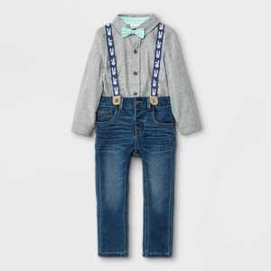 Toddler Boys' 3pc Easter Woven Long Sleeve Shirt & Denim Suspender Set with Bow Tie - Cat & Jack Heather Gray