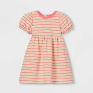 Toddler Girls' Striped Puff Sleeve Dress - Cat & Jack Pink