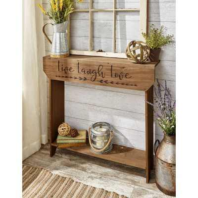 Lakeside Farmhouse Sentiment Console Table with Live Laugh Love Inscribed