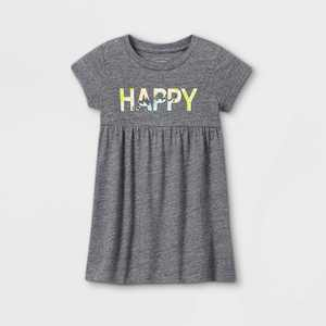 Grayson Mini Toddler Girls' French Terry 'Happy' Short Sleeve Dress - Gray 12M