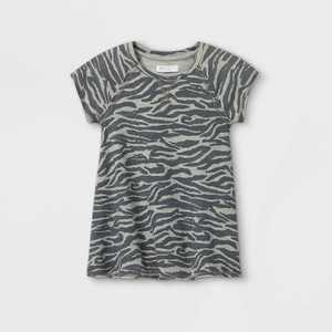 Grayson Mini Toddler Girls' 'Zebra' Short Sleeve Dress - Gray 12M