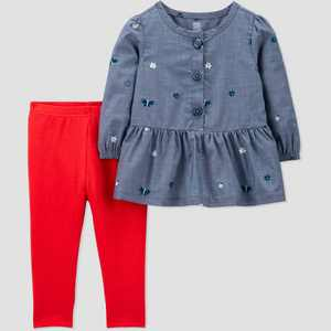 Baby Girls' 2pc Chambray Top & Bottom Set - Just One You made by carter's Blue