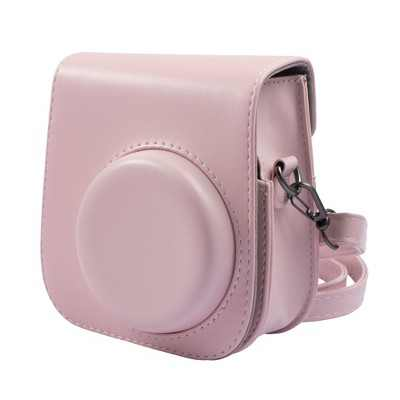 Insten Case For Fujifilm Instax Mini 11 Camera, Protective Soft PU Leather Case with Adjustable Shoulder Strap, Pink