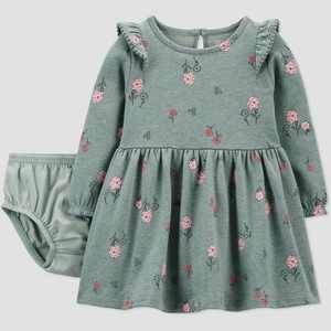 Baby Girls' Floral Dress - Just One You made by carter's Sage Green