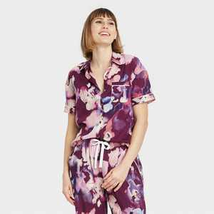 Women's Floral Print Simply Cool Short Sleeve Button-Up Shirt - Stars Above Purple