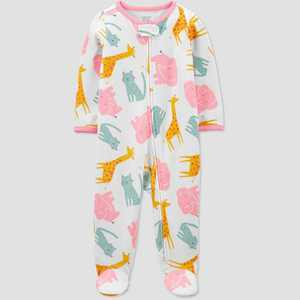 Baby Girls' Animal Print Sleep N' Play - Just One You made by carter's White