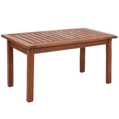 "Sunnydaze Outdoor Meranti Wood with Teak Oil Finish Modern Rectangular Patio Dining Table - 35 - Brown"""