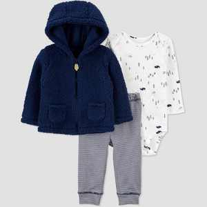 Baby Boys' Winter Animals Top & Bottom Set - Just One You made by carter's Navy