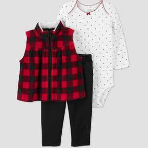 Baby Girls' Buffalo Vest Top & Bottom Set - Just One You made by carter's Red