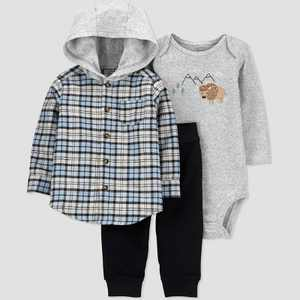 Baby Boys' 3pc Buffalo Plaid Hooded Top & Bottom Set - Just One You made by carter's Blue