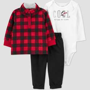 Baby Boys' Buffalo Plaid Top & Bottom Set - Just One You made by carter's Red