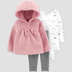 Baby Girls' 3pc Sherpa Top & Bottom Set - Just One You made by carter's Pink Rose