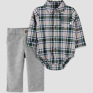 Baby Boys' 2pc Plaid Top & Bottom Set - Just One You made by carter's Burgundy