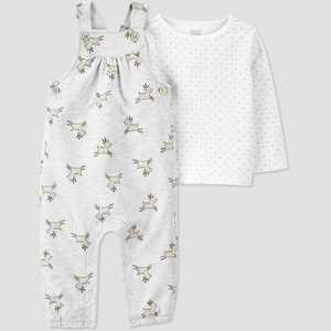 Baby Girls' 2pc Reindeer Overall Top & Bottom Set - Just One You made by carter's Gray