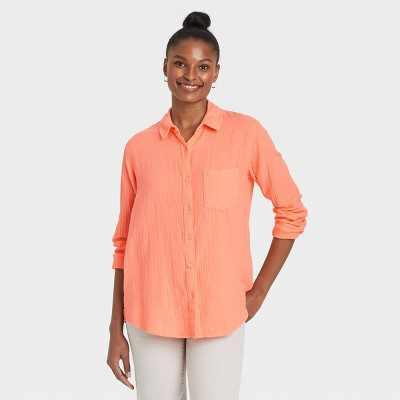 Women's Long Sleeve Gauze Button-Down Shirt - Universal Thread