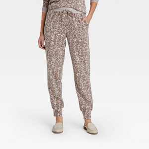 Women's Leopard Print Jogger Pants - Knox Rose Brown