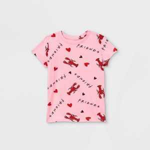 Girls' Friends Lobster Print Short Sleeve T-Shirt - Pink
