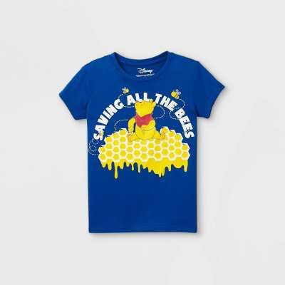 Girls' Disney Winnie the Pooh Saving All The Bees Short Sleeve T-Shirt - Blue