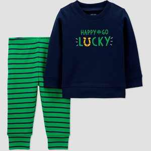 Baby Boys' 2pc St. Patrick's Day 'Happy' Top and Bottom Set - Just One You made by carter's Green
