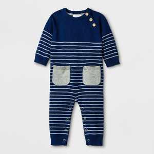 Baby Boys' Basic Striped Coveralls - Cloud Island Navy