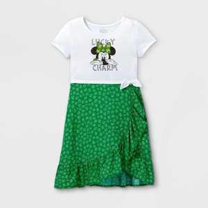 Girls' Disney Minnie Mouse 'Lucky Charm' Dress - Green/White
