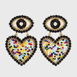 SUGARFIX by BaubleBar Beaded Evil Eye Heart Drop Earrings