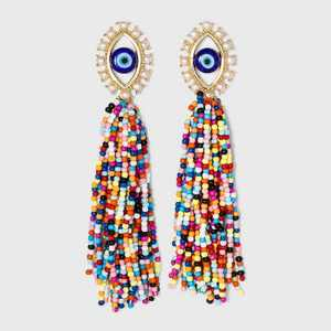 SUGARFIX by BaubleBar Colorful Evil Eye Tassel Drop Earrings