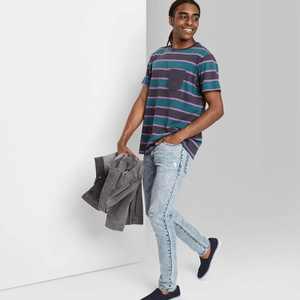 Men's Striped Short Sleeve Crewneck T-Shirt - Original Use Vintage Green