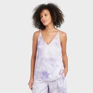 Women's Tie-Dye Satin Sleep Camisole - Stars Above Purple
