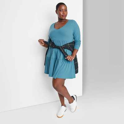 Women's Long Sleeve Brushed Rib-Knit Tiered Dress - Wild Fable